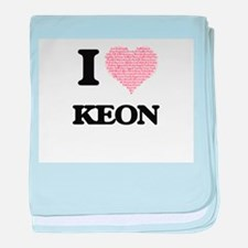 I Love Keon (Heart Made from Love wor baby blanket