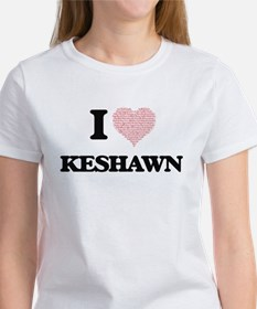 I Love Keshawn (Heart Made from Love words T-Shirt