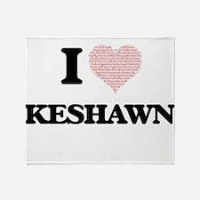 I Love Keshawn (Heart Made from Love Throw Blanket