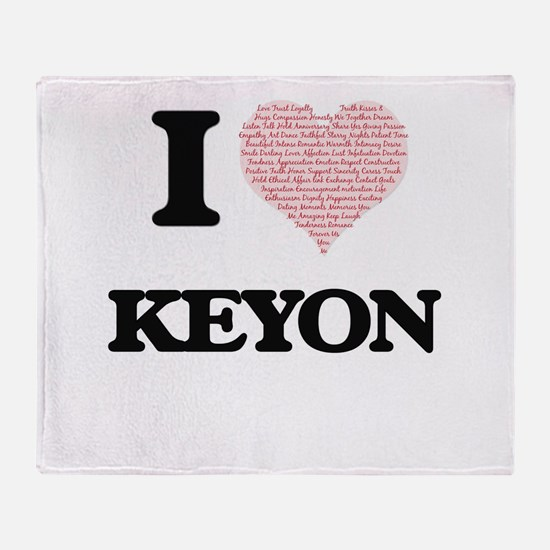 I Love Keyon (Heart Made from Love w Throw Blanket