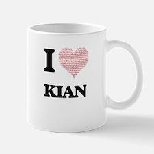 I Love Kian (Heart Made from Love words) Mugs