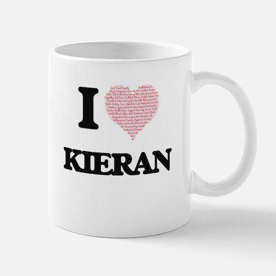 I Love Kieran (Heart Made from Love words) Mugs