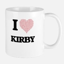 I Love Kirby (Heart Made from Love words) Mugs