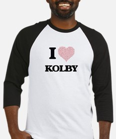 I Love Kolby (Heart Made from Love Baseball Jersey