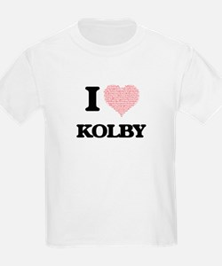I Love Kolby (Heart Made from Love words) T-Shirt