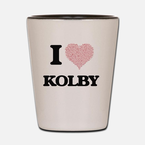 I Love Kolby (Heart Made from Love word Shot Glass