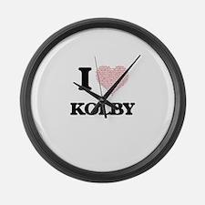 I Love Kolby (Heart Made from Lov Large Wall Clock
