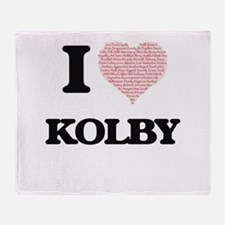 I Love Kolby (Heart Made from Love w Throw Blanket