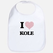 I Love Kole (Heart Made from Love words) Bib