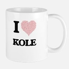 I Love Kole (Heart Made from Love words) Mugs