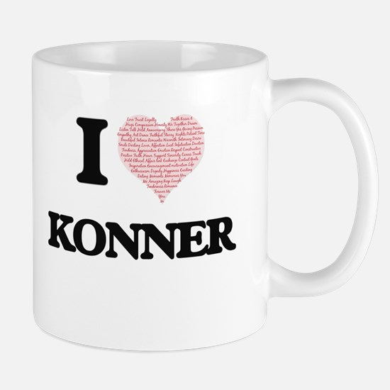 I Love Konner (Heart Made from Love words) Mugs