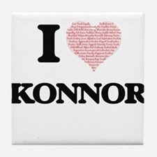 I Love Konnor (Heart Made from Love w Tile Coaster