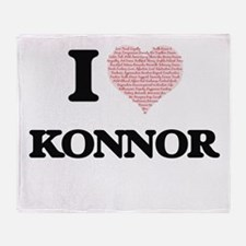 I Love Konnor (Heart Made from Love Throw Blanket
