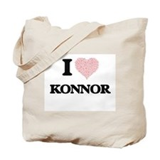 I Love Konnor (Heart Made from Love words Tote Bag