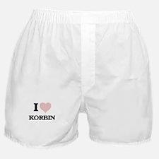I Love Korbin (Heart Made from Love w Boxer Shorts