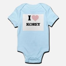 I Love Korey (Heart Made from Love words Body Suit