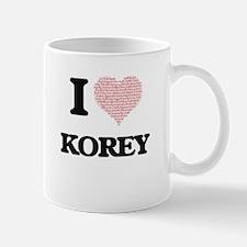 I Love Korey (Heart Made from Love words) Mugs