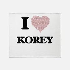 I Love Korey (Heart Made from Love w Throw Blanket