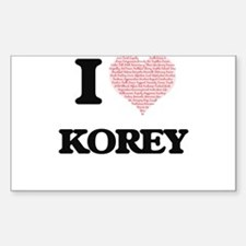 I Love Korey (Heart Made from Love words) Decal