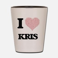 I Love Kris (Heart Made from Love words Shot Glass