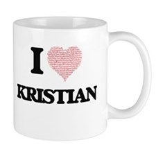 I Love Kristian (Heart Made from Love words) Mugs