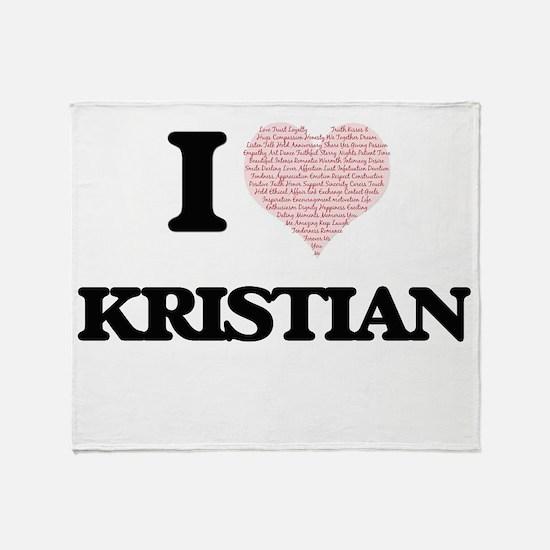 I Love Kristian (Heart Made from Lov Throw Blanket
