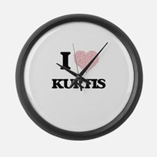 I Love Kurtis (Heart Made from Lo Large Wall Clock