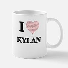 I Love Kylan (Heart Made from Love words) Mugs