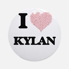 I Love Kylan (Heart Made from Love Round Ornament