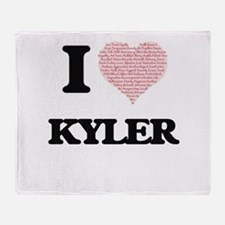I Love Kyler (Heart Made from Love w Throw Blanket