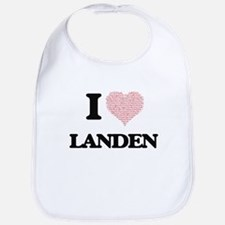 I Love Landen (Heart Made from Love words) Bib