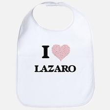 I Love Lazaro (Heart Made from Love words) Bib
