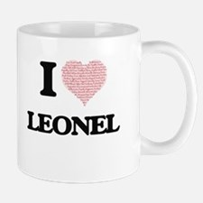 I Love Leonel (Heart Made from Love words) Mugs