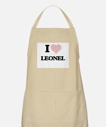 I Love Leonel (Heart Made from Love words) Apron