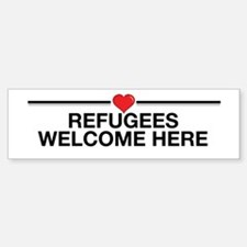 Refugees Welcome Here Bumper Bumper Bumper Sticker