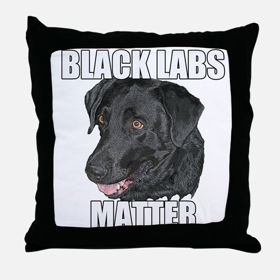 Black Labs Matter Two Throw Pillow