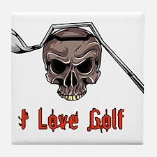 Skull and Bent Golf Club I LOVE GOLF Tile Coaster