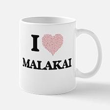 I Love Malakai (Heart Made from Love words) Mugs