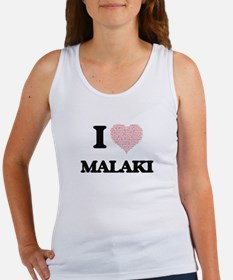 I Love Malaki (Heart Made from Love words Tank Top