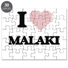 I Love Malaki (Heart Made from Love words) Puzzle