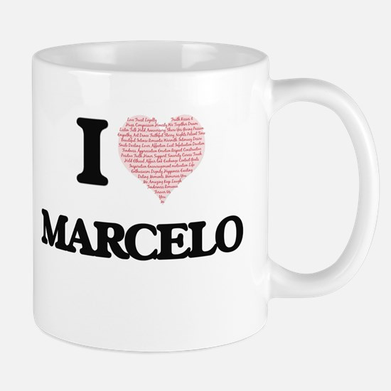I Love Marcelo (Heart Made from Love words) Mugs