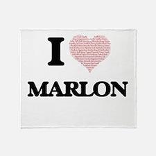 I Love Marlon (Heart Made from Love Throw Blanket