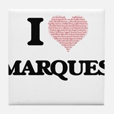 I Love Marques (Heart Made from Love Tile Coaster