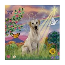 Cloud Angel & Yellow Lab Tile Coaster