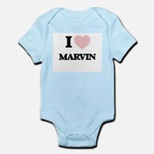 I Love Marvin (Heart Made from Love word Body Suit