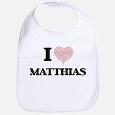 I Love Matthias (Heart Made from Love words) Bib