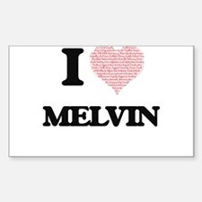 I Love Melvin (Heart Made from Love words) Decal