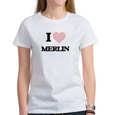 I Love Merlin (Heart Made from Love words) T-Shirt