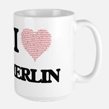 I Love Merlin (Heart Made from Love words) Mugs