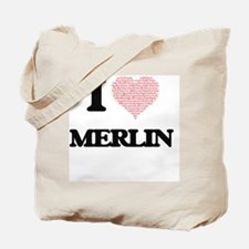 I Love Merlin (Heart Made from Love words Tote Bag